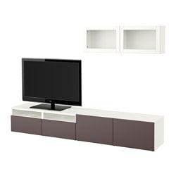 "BESTÅ TV storage combination/glass doors, Valviken dark brown clear glass, white Width: 94 1/2 "" Min. depth: 7 7/8 "" Max. depth: 15 3/4 "" Width: 240 cm Min. depth: 20 cm Max. depth: 40 cm"