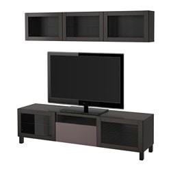 BESTÅ TV storage combination/glass doors, black-brown, Valviken dark brown clear glass Width: 180 cm Min. depth: 20 cm Max. depth: 40 cm