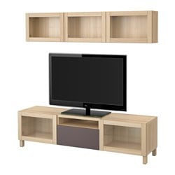 BESTÅ TV storage combination/glass doors, white stained oak effect, Valviken dark brown clear glass Width: 180 cm Min. depth: 20 cm Max. depth: 40 cm