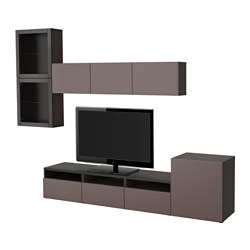 BESTÅ TV storage combination/glass doors, black-brown, Valviken dark brown clear glass Width: 300 cm Min. depth: 20 cm Max. depth: 40 cm
