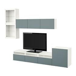 BESTÅ TV storage combination/glass doors, white, Valviken grey-turquoise clear glass Width: 300 cm Min. depth: 20 cm Max. depth: 40 cm