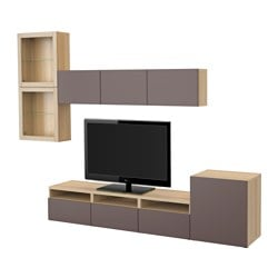 BESTÅ TV storage combination/glass doors, white stained oak effect, Valviken dark brown clear glass Width: 300 cm Min. depth: 20 cm Max. depth: 40 cm