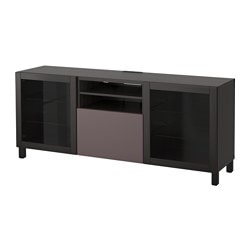 BESTÅ TV bench with drawers, black-brown, Valviken dark brown clear glass Width: 180 cm Depth: 40 cm Height: 74 cm