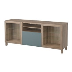 BESTÅ TV bench with drawers, grey stained walnut effect, Valviken grey-turquoise clear glass Width: 180 cm Depth: 40 cm Height: 74 cm