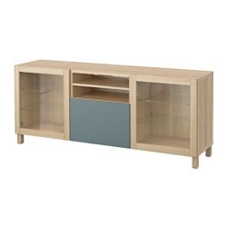 BESTÅ TV bench with drawers, white stained oak effect, Valviken grey-turquoise clear glass Width: 180 cm Depth: 40 cm Height: 74 cm