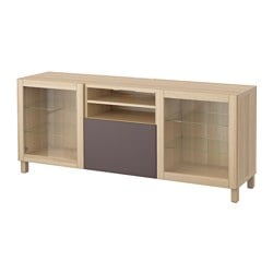 BESTÅ TV bench with drawers, Valviken dark brown clear glass, white stained oak effect Width: 180 cm Depth: 40 cm Height: 74 cm