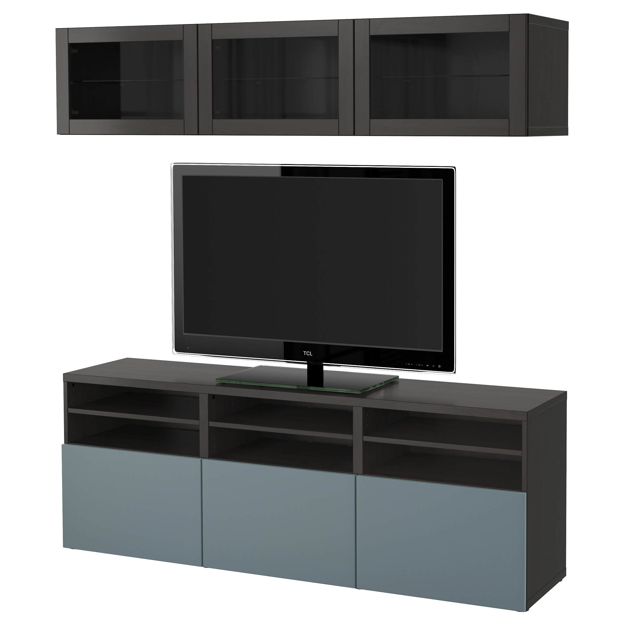 BestÅ Tv Storage Combination Gl Doors Black Brown Selsviken High Gloss Smoked Drawer Runner Push Open Ikea