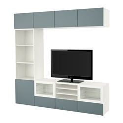 "BESTÅ TV storage combination/glass doors, white, Valviken gray-turquoise clear glass Width: 94 1/2 "" Depth: 15 3/4 "" Height: 90 1/2 "" Width: 240 cm Depth: 40 cm Height: 230 cm"