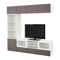"BESTÅ TV storage combination/glass doors, Valviken dark brown clear glass, white Width: 94 1/2 "" Depth: 15 3/4 "" Height: 90 1/2 "" Width: 240 cm Depth: 40 cm Height: 230 cm"