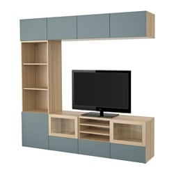 BESTÅ TV storage combination/glass doors, Valviken grey-turquoise clear glass, white stained oak effect Width: 240 cm Depth: 40 cm Height: 230 cm