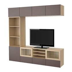 BESTÅ TV storage combination/glass doors, Valviken dark brown clear glass, white stained oak effect Width: 240 cm Depth: 40 cm Height: 230 cm