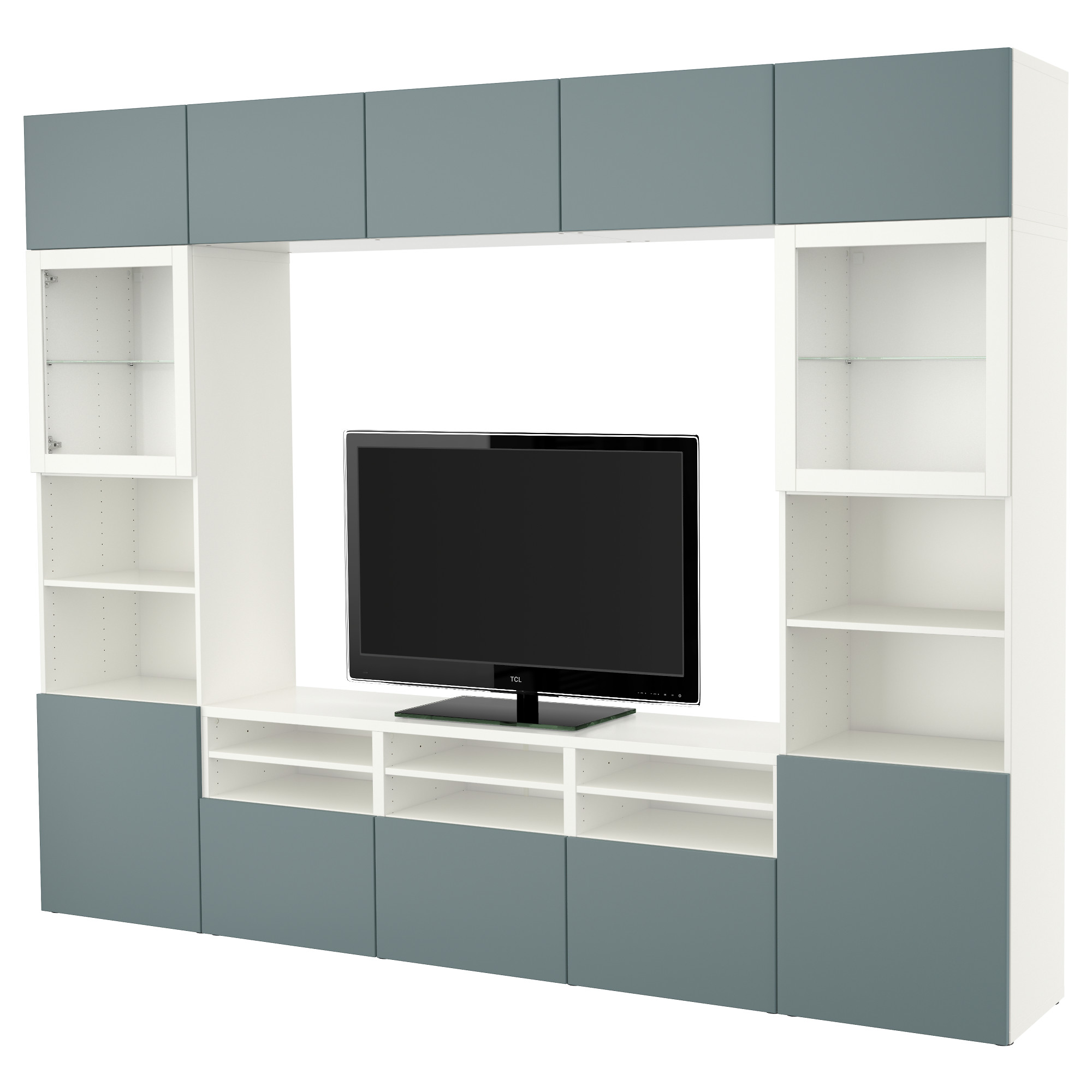 BESTÅ TV storage combination/glass doors - white/Valviken gray ...