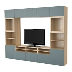 BESTÅ TV storage combination/glass doors, white stained oak effect, Valviken grey-turquoise clear glass Width: 300 cm Depth: 40 cm Height: 230 cm