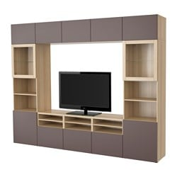 BESTÅ TV storage combination/glass doors, Valviken dark brown clear glass, white stained oak effect Width: 300 cm Depth: 40 cm Height: 230 cm