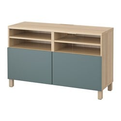 BESTÅ TV bench with doors, white stained oak effect, Valviken grey-turquoise Width: 120 cm Depth: 40 cm Height: 74 cm
