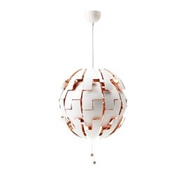 "IKEA PS 2014 pendant lamp, white, copper color Max.: 13 W Diameter: 20 "" Cord length: 4 ' 11 "" Max.: 13 W Diameter: 52 cm Cord length: 1.5 m"