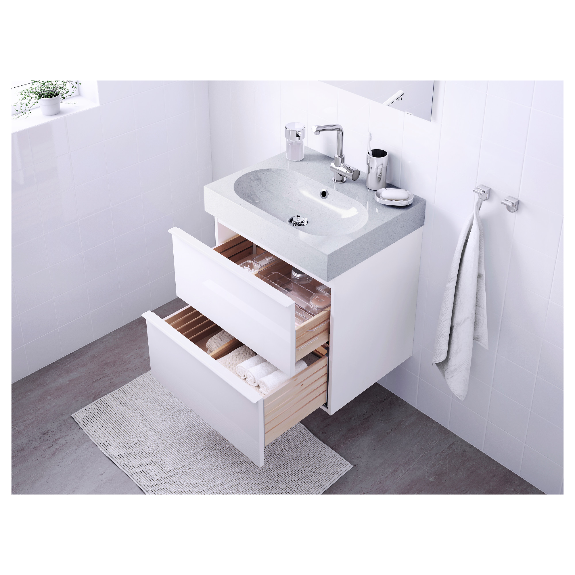 GODMORGON BR…VIKEN Sink cabinet with 2 drawers high gloss