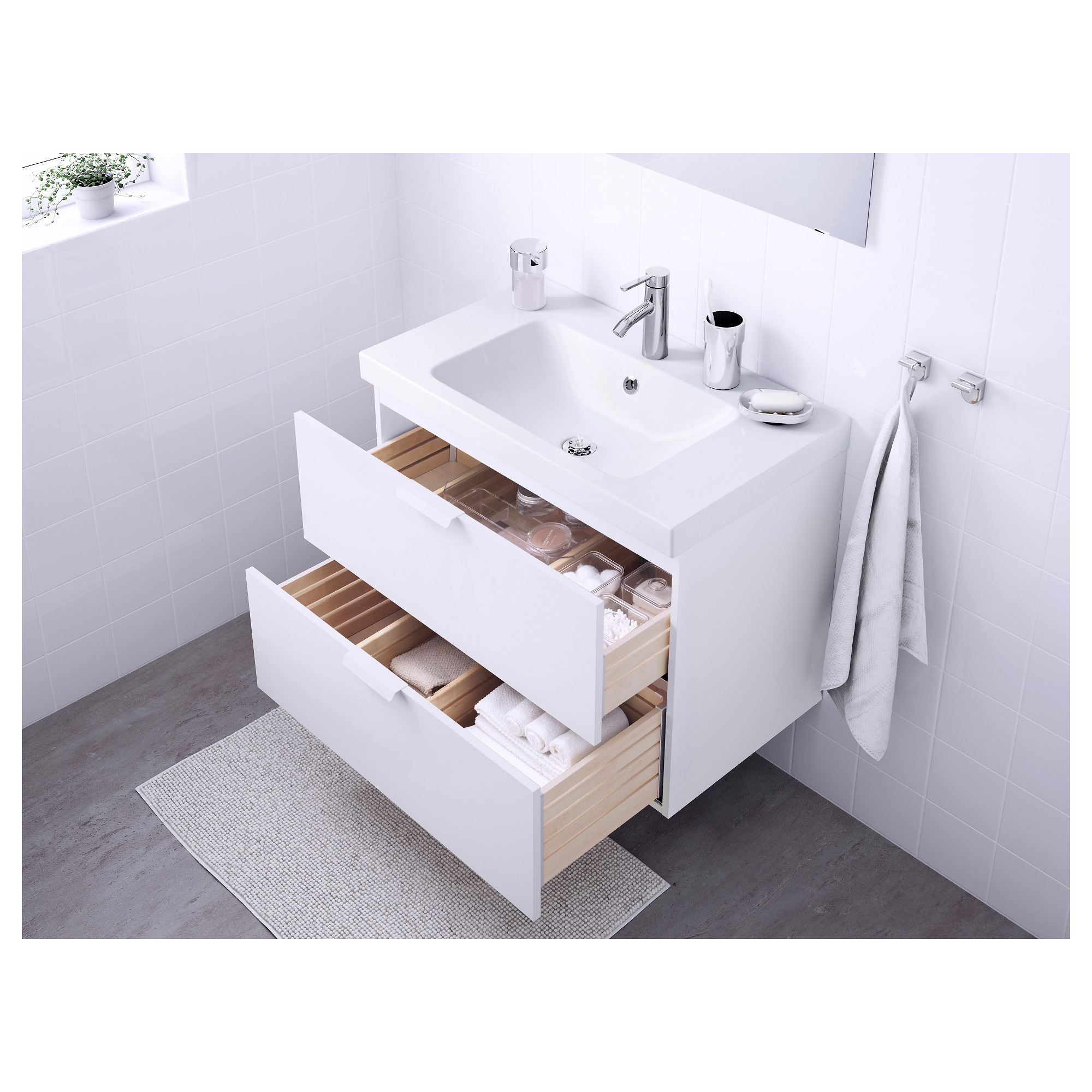 GODMORGON / ODENSVIK Sink cabinet with 2 drawers - high gloss white ...