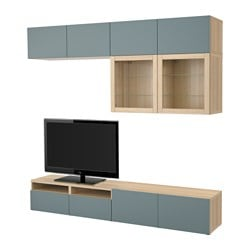 BESTÅ TV storage combination/glass doors, white stained oak effect, Valviken grey-turquoise clear glass Width: 240 cm Depth: 40 cm Height: 230 cm