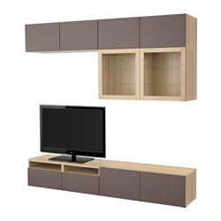 BESTÅ TV storage combination/glass doors, white stained oak effect, Valviken dark brown clear glass Width: 240 cm Depth: 40 cm Height: 230 cm