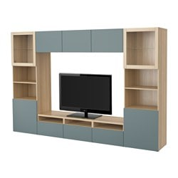 BESTÅ TV storage combination/glass doors, white stained oak effect, Valviken grey-turquoise clear glass Width: 300 cm Depth: 40 cm Height: 192 cm
