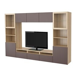BESTÅ TV storage combination/glass doors, Valviken dark brown clear glass, white stained oak effect Width: 300 cm Depth: 40 cm Height: 192 cm
