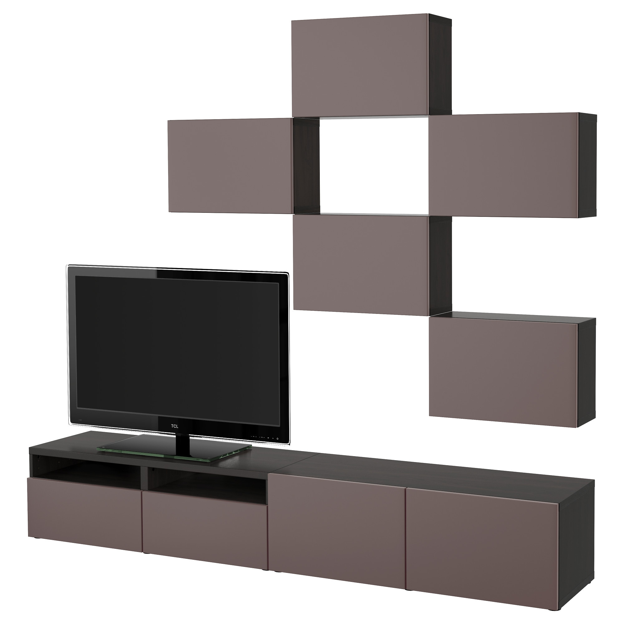 Best Tv Storage Combination Black Brown Selsviken High Gloss  # Meuble Tv Wenge But
