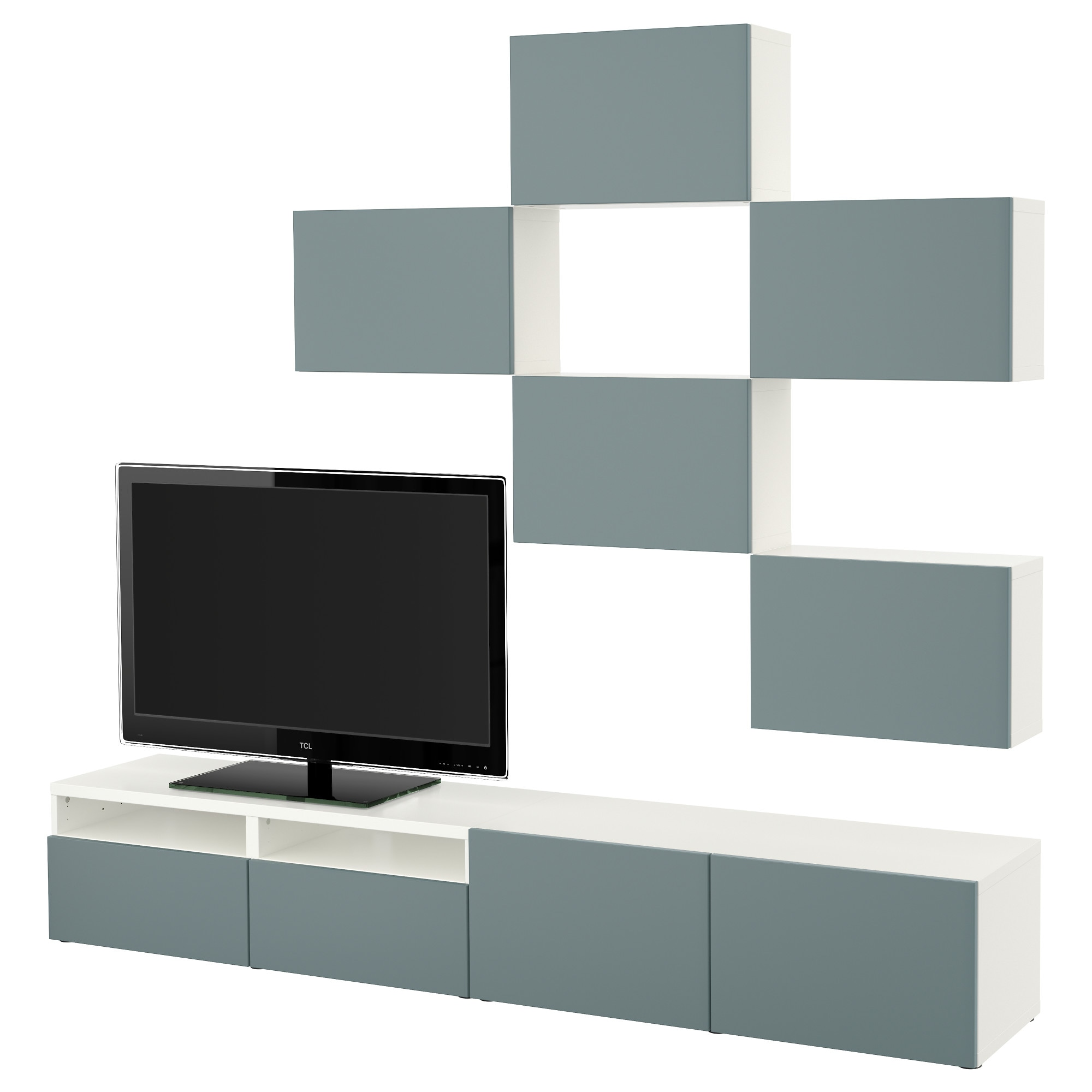Best Tv Storage Combination White Valviken Gray Turquoise  # Meuble Tv Ferme Ikea