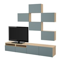BESTÅ TV storage combination, white stained oak effect, Valviken grey-turquoise Width: 240 cm Min. depth: 20 cm Max. depth: 40 cm