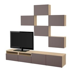 BESTÅ TV storage combination, white stained oak effect, Valviken dark brown Width: 240 cm Min. depth: 20 cm Max. depth: 40 cm