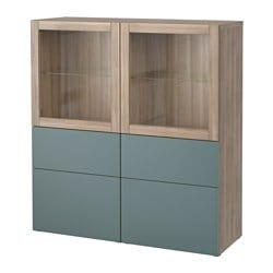 BESTÅ storage combination w glass doors, grey stained walnut effect, Valviken grey-turquoise clear glass Width: 120 cm Depth: 40 cm Height: 128 cm