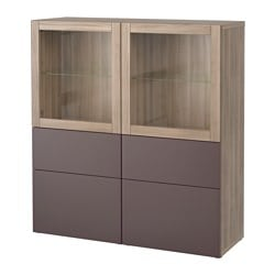 "BESTÅ storage combination w/glass doors, Valviken dark brown clear glass, walnut effect light gray Width: 47 1/4 "" Depth: 15 3/4 "" Height: 50 3/8 "" Width: 120 cm Depth: 40 cm Height: 128 cm"