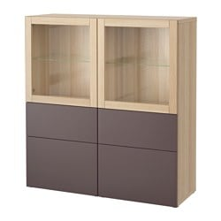 BESTÅ storage combination w glass doors, white stained oak effect, Valviken dark brown Width: 120 cm Depth: 40 cm Height: 128 cm