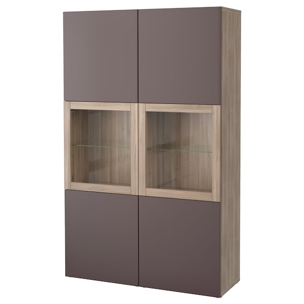best vitrine grau las nussbaumnachb valviken klargl dbraun ikea. Black Bedroom Furniture Sets. Home Design Ideas