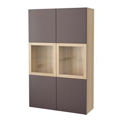 BESTÅ storage combination w glass doors, Valviken dark brown clear glass, white stained oak effect Width: 120 cm Depth: 40 cm Height: 192 cm