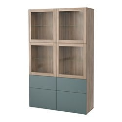 BESTÅ storage combination w glass doors, grey stained walnut effect, Valviken grey-turquoise clear glass Width: 120 cm Depth: 40 cm Height: 192 cm