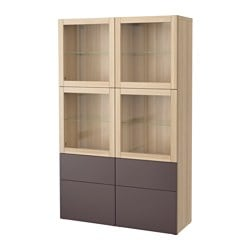 BESTÅ storage combination w glass doors, white stained oak effect, Valviken dark brown clear glass Width: 120 cm Depth: 40 cm Height: 192 cm