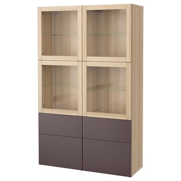 best vitrine eicheneff wlas valviken klargl dbraun ikea. Black Bedroom Furniture Sets. Home Design Ideas