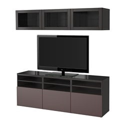 BESTÅ TV storage combination/glass doors, Valviken dark brown clear glass, black-brown Width: 180 cm Depth: 40 cm Height: 192 cm