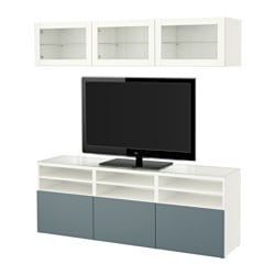 BESTÅ TV storage combination/glass doors, white, Valviken grey-turquoise clear glass Width: 180 cm Depth: 40 cm Height: 192 cm