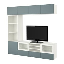BESTÅ TV storage combination/glass doors, Valviken grey-turquoise clear glass, white Width: 240 cm Depth: 40 cm Height: 230 cm