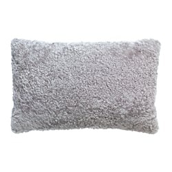 BJÖRKSNÄS, Cushion cover, sheepskin light gray