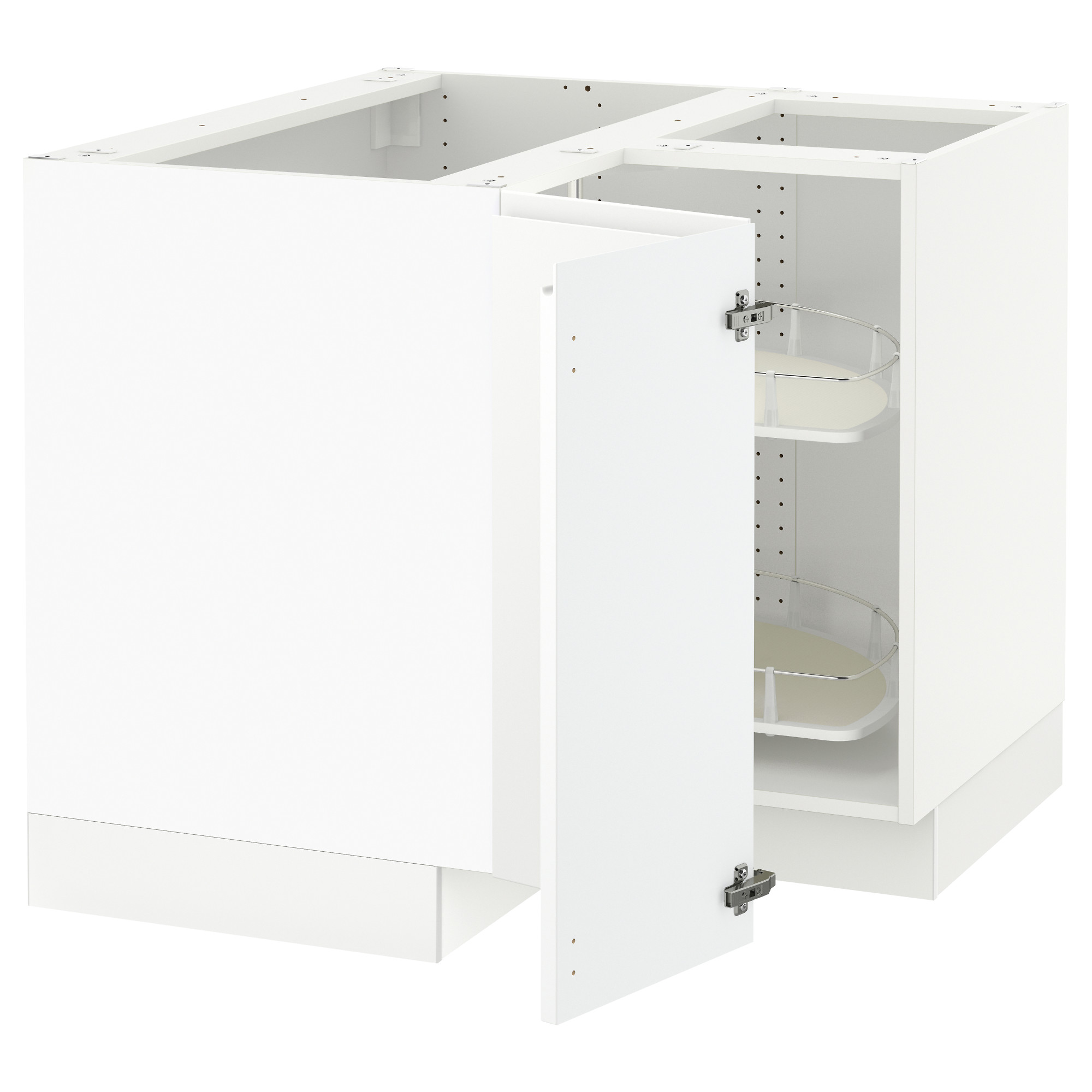 SEKTION Corner Base Cabinet With Carousel   White, Grimslöv Off White   IKEA