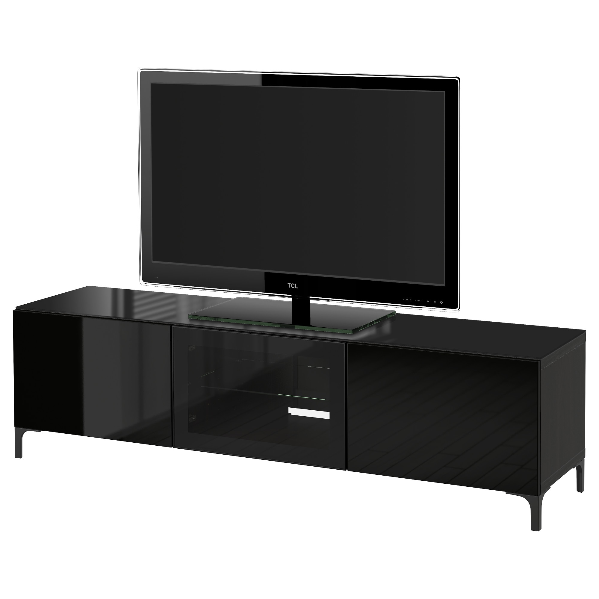 best tv unit with doors blackbrown selsviken high glossblack clear