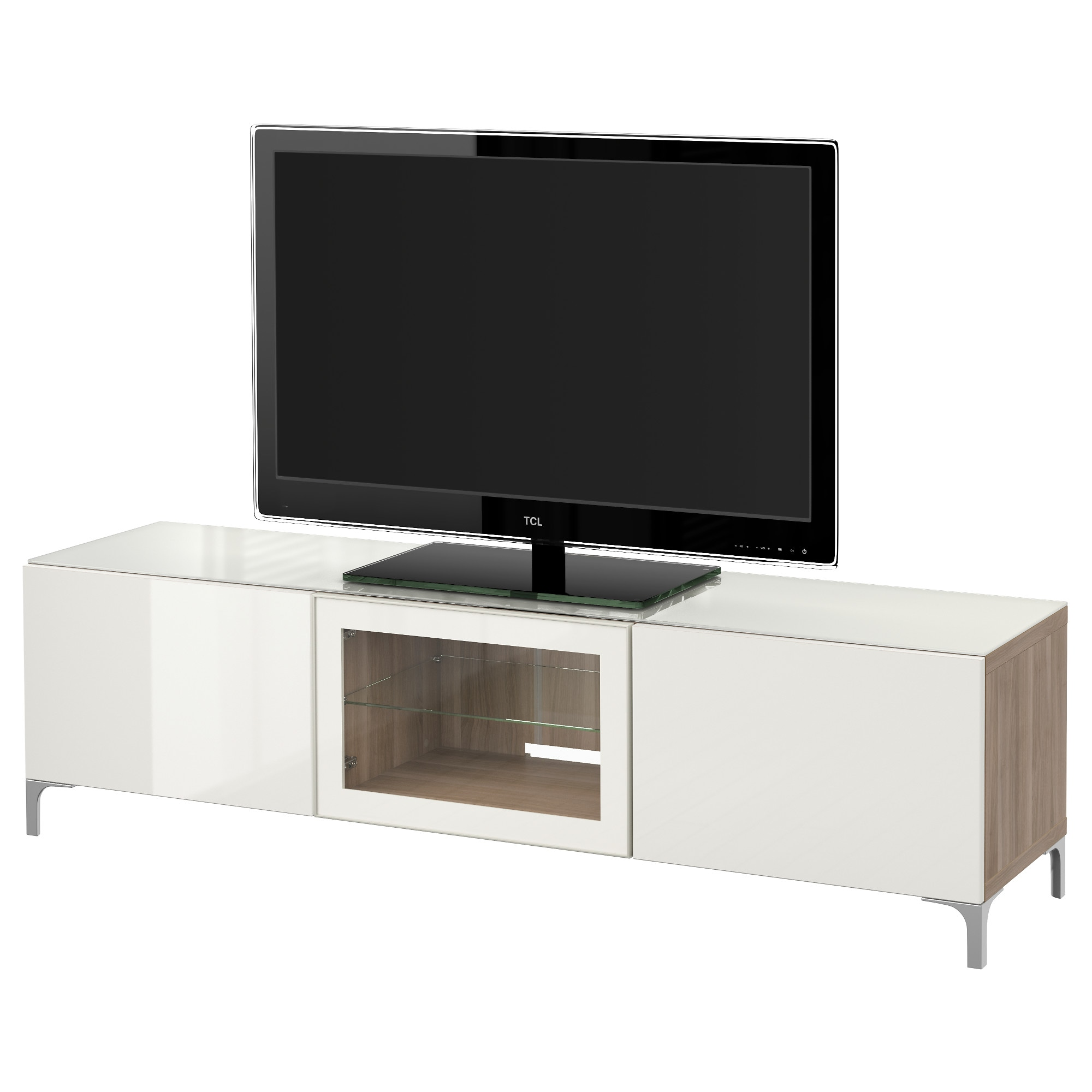 Best Tv Unit With Doors Lappviken White Clear Glass 70 7 8×15  # Meuble Tv Miami