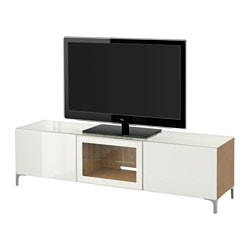 BESTÅ TV bench with doors, Selsviken high-gloss/white clear glass, oak effect Width: 180 cm Depth: 40 cm Height: 38 cm