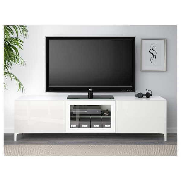 best tv bank mit t ren wei selsviken hochglanz klarglas wei ikea. Black Bedroom Furniture Sets. Home Design Ideas