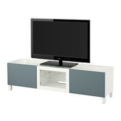 "BESTÅ TV bench with doors, Valviken gray-turquoise clear glass, white Width: 70 7/8 "" Depth: 15 3/4 "" Height: 15 "" Width: 180 cm Depth: 40 cm Height: 38 cm"