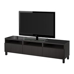 BESTÅ TV bench with drawers, Lappviken black-brown Width: 180 cm Depth: 40 cm Height: 48 cm