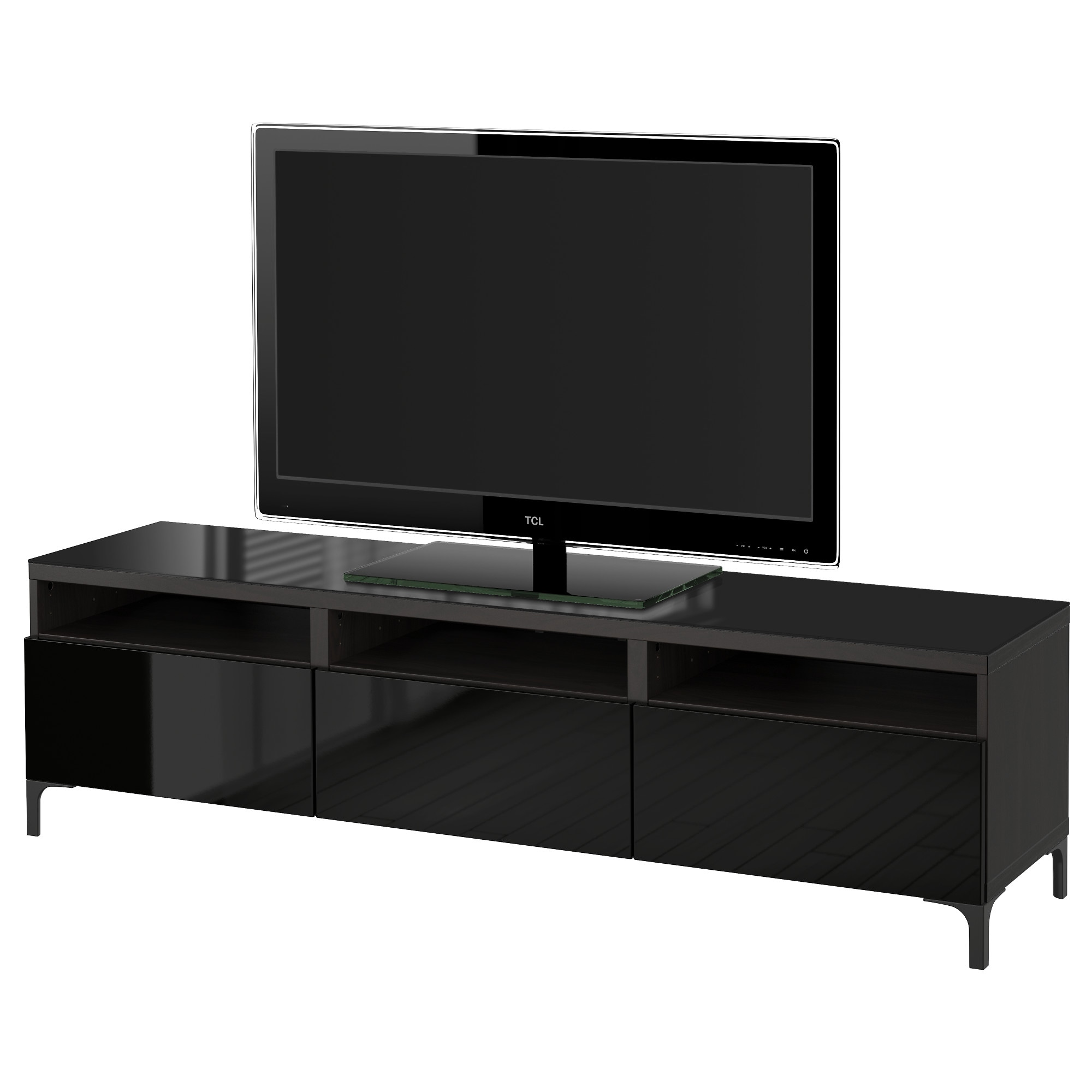 BESTÅ TV Unit With Drawers, Black Brown, Selsviken High Gloss/black